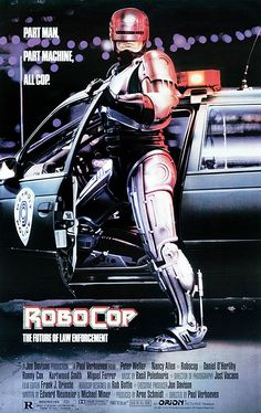 RoboCop. A cop gets blown to bits and is turned into a cyborg cop. He does well except when he tries to stop the company that made him. Will he be able to over ride the programing? Watch and see. 4 of 5