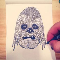 """I've got a new job"" #illustration #design #nerd #chewbacca #starwars #drawing #nopencil #feltpen #staedtler #on #moleskine #alessioisyourfriend #alessiovitellidesign"
