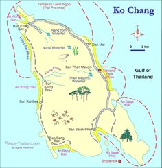 map of koh chang, thailand travel map
