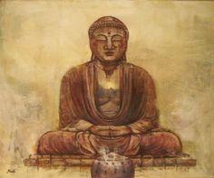Cuadro de Budha, original de Rudi. Óleo sobre tabla.