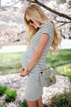 the perfect striped maternity dress