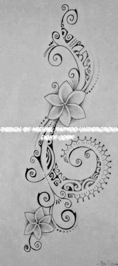 Polynesian Tattoo for Woman featuring Tipanier Flowers and a Hook of Maori Symbols