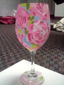 Print out a design, tape it to the inside of the glass, then paint away! Why havent I thought of this?!