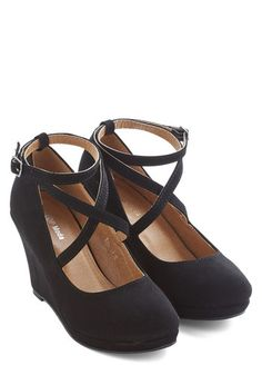 Fabled Sable Wedge in Black - Mid, Faux Leather, Black, Solid, Work, Wedge, Strappy, Party, Good
