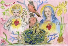 Lovely Sacred and Immaculate Heart Image for giveaway