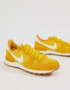 Shop Nike Internationalist Sneakers In Yellow. With a variety of delivery, payment and return options available, shopping with ASOS is easy and secure. Shop with ASOS today. Yellow Trainers, Yellow Sneakers, Yellow Nikes, Nike Trainers, Nike Sneakers, Air Max Sneakers, Nike Internationalist, Minimal Shoes, Cool Nikes