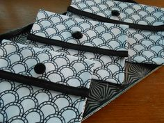 "Matching trio of fabric pouches made from vintage fabric ""Moon Scales"" a 1969 print! Fun vintage black glass button as decoration."