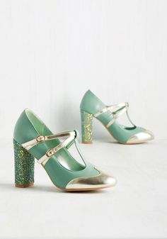 Strut in the World Heel in Seafoam by Banned - Mint, Gold, Solid, Glitter, Special Occasion, Prom, Wedding, Party, Cocktail, Holiday, Holiday Party, Daytime Party, Bridesmaid, Homecoming, Wedding Guest, Rockabilly, Pinup, Vintage Inspired, 40s, Pastel, Colorblocking, High, Better, Chunky heel, T-Strap, Variation, Green, Metallic, Pastel, Statement, Spring, Under 100 Gifts, Sparkly2015