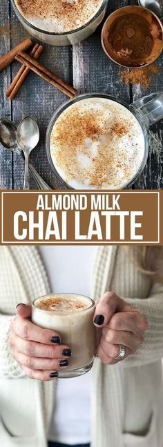 ALMOND MILK CHAI LATTE Skip the coffee shop and create a creamy and delicious dairy-free Almond Milk Chai Latte in your own kitchen that only takes minutes to make! This latte is so good you won't even believe it's dairy-free! Yummy Drinks, Healthy Drinks, Yummy Food, Tasty, Healthy Snacks, Smoothie Drinks, Smoothie Recipes, Juicer Recipes, Smoothie Cleanse