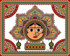 "Goddess in Madhubani / Mithila Painting.  In traditional Mithila this painting is also known as painting of ""Bhagawati"" ( meaning ""Devi"" or ""Goddess"" )  Mode of Creation : Digital Painting, Artist :Nupur Nishith"