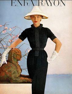 1953 Georgia Hamilton in crêpe and rayon tucked day-time sheath by Karen Stark of Harvey Berin.
