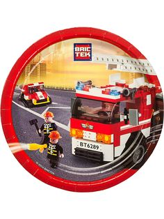 """Bric Tek Firefighter 9"""" Luncheon Plates - LEGO Themed Party Supplies"""