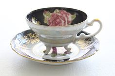 Mid Century Footed Tea Cup and Saucer by Royal Halsey