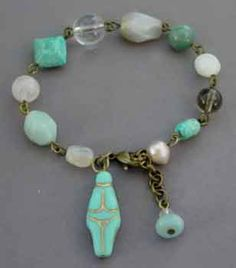 Fertility Goddess Turquoise Bracelet Moonstone Opal Jewelry
