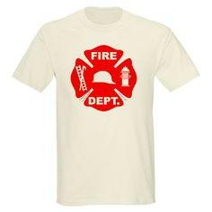 "Fire Depart. Emblem Light T-Shirt from Terry Kepner's Design Oddities. ""Cool beans"", thinks Auntie Shoe."