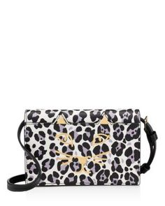 Charlotte Olympia Feline Leopard Print Crossbody - Black and White Leopard/Gold White Leopard, Face Design, Cat Face, Charlotte Olympia, Cross Body Handbags, Black And White, Gold, Shoulder Bags, Metallic