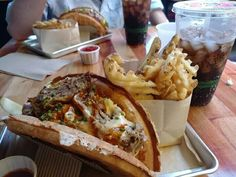 Carolina BBQ Pulled Pork Waffle Sandwich with Waffle Fries and Spiced Cola from Bruxie in Orange CA [720x570]