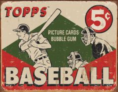 TOPPS - 1955 Baseball Box Tin Sign