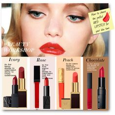 #BEAUTY WORKSHOP - How to Choose The Perfect Red Lipstick For Your Skin Tone by nikkisg on Polyvore featuring polyvore, beauty, Tom Ford, Bobbi Brown Cosmetics, Witchery, NARS Cosmetics, Estée Lauder and Beautyworkshop