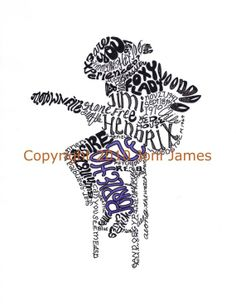 Word Art Typography Calligram of Jimi Hendrix Art by Joni James
