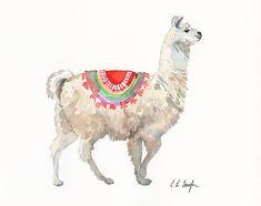 Cabras Animal, Llamas Animal, Alpacas, Watercolor Animals, Watercolor Paintings, Watercolour, Watercolor Ideas, Animal Paintings, Animal Drawings
