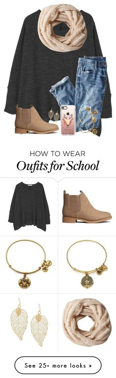 """LAST DAY OF SCHOOL BEFORE BREAK!!!"" by twaayy on Polyvore featuring MANGO, J.Crew, A.Forty Three, H&M, Casetify and Alex and Ani"