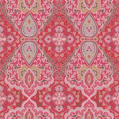 Bindi+(397811)+-+Eijffinger+Wallpapers+-+An+intricate+paisley+of+sumptuous+colours,+inspired+by+Indian+opulence+in+bold+shades+of+red,+pink,+blue,+green,+white+and+mustard+on+a+linen-effect+vinyl.+Additional+colourways+also+available.+Please+order+sample+for+true+colour+and+texture+match.+