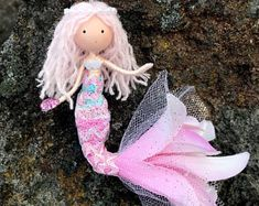 Pink Little Mermaid Hanging Ornament, Under The Sea Theme, Mermaid Bendy Doll, Beach Ocean Lover Gift Ideas, Sea Nautical Inspired