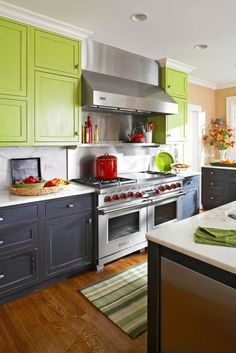 Our 40 kitchens offer inspirational ideas for updating your kitchen with colorful accents, fresh styles, and a hardworking layout.