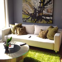 Contemporary art, sofa, green rug, Sean Shrum