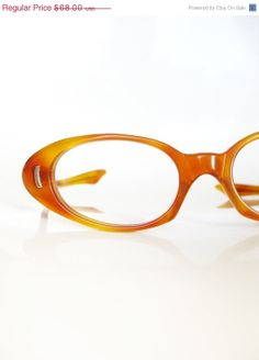 Vintage Butterscotch 1960s Cat Eye by OliverandAlexa, $40.80