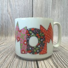 Vintage MOM Coffee Tea Cup Mug Quilt Stitch Design Floral Pink Mothers Day