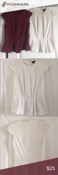 Minimally-worn, H&M capsleeve peplum shirts Minimally-worn, H&M cap sleeve peplum shirts, size 2, maroon and cream H&M Tops Blouses