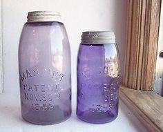 "Purple Mason jars: old glass that has been ""sun purpled"" is considered damaged and devalued by collectors but I love the look of it. Antique Bottles, Vintage Bottles, Bottles And Jars, Antique Glass, Vintage Glassware, Glass Bottles, Purple Mason Jars, Vintage Mason Jars, Carafe"