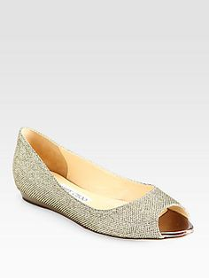 Jimmy+Choo Beck+Glitter+Lamé+Peep-Toe+Flats I have these and absolutely love them!
