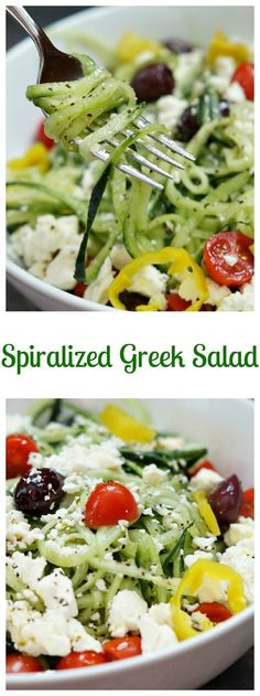 Healthy Meals Authentic Greek Salad - I liked this (didn't use the dressing) but think I would prefer the cucumbers just cut up, not spiralized. - Authentic greek salad recipe -- delicious, healthy and easy to make! Zucchini Noodle Recipes, Zoodle Recipes, Vegetarian Recipes, Cooking Recipes, Healthy Recipes, Keto Recipes, Spiralized Veggie Recipes, Vegetarian Lunch, Zucchini Noodles Salad