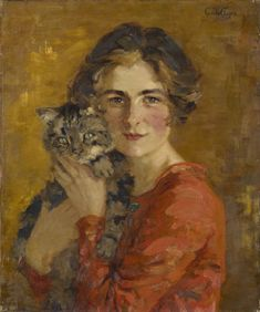 """Gertrude Des Clayes, """"Woman with Cat"""", before1936"""