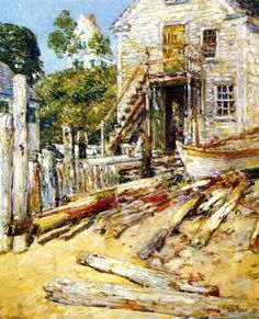 """""""Rigger's Shop, Provincetown,"""" Frederick Childe Hassam, 1900, oil on canvas, 22 x 19"""", New Britain Museum of American Art."""