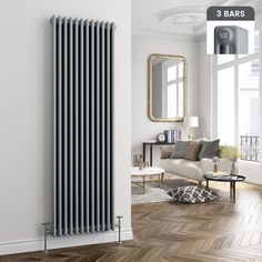 For great heating in narrow areas, this triple panel vertical column radiator is a must have. Finished in Earl Grey, it adds as much style as it does warmth! Living Room Styles, Living Room On A Budget, Cozy Living Rooms, Living Room Interior, Home Living Room, Apartment Living, Living Room Decor, Dining Room, London Apartment