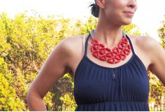 red rice wood geometric mosaic tessellate necklace by simplylivly, $48.00