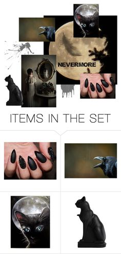 """Nevermore"" by onetribejewelry ❤ liked on Polyvore featuring art, Halloween, gothic and Poe"
