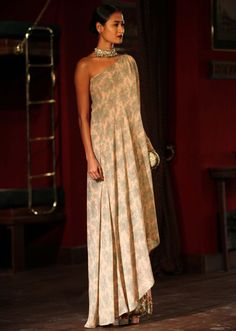 Model in Grey and peach gown for sabyasachi at Indian couture week July 2014