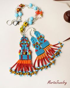 MartaJewelry. Tribal set of a necklace and earrings, tassel necklace, fringe necklace, macrame necklace, ethnic jewelry, unique gift idea, boho chic, OOAK