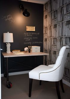 chalk board wall, beautiful and comfy chair, stylish desk