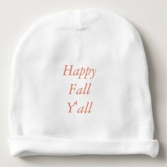 """""""Happy Fall Y'all"""" Baby Beanie - baby gifts child new born gift idea diy cyo special unique design"""