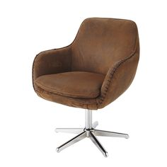 Microsuede office chair in brown