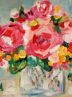 still life abstract florals | Small Floral Still Life Impressionistic by BluePoppyDesign on Etsy