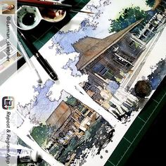 Repost from @darman_sketcher #architecture #traditional #watercolour #drawing #pen #pencil #heritage #malang #design #tropical #natural #sketch #javanese #culture #usk #urbansketch #urbansketchers