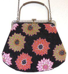 Vtg Look Fully Beaded Metal Frame Handbag Black/Multi Color Flowers Chain Strap #Unbranded #ShoulderBag