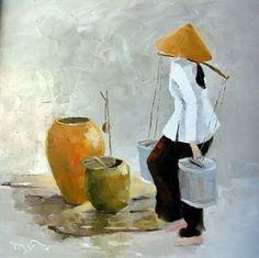 Les jeunes femmes et de fleurs, en particulier de lotus, semble être l'éternel source d'inspiration pour Ha Huynh Mon explorer, imaginer, et créer. Il faut don non seulement artistique mais aussi une sorte de resonation de l'âme pour faire ressortir l'essence...